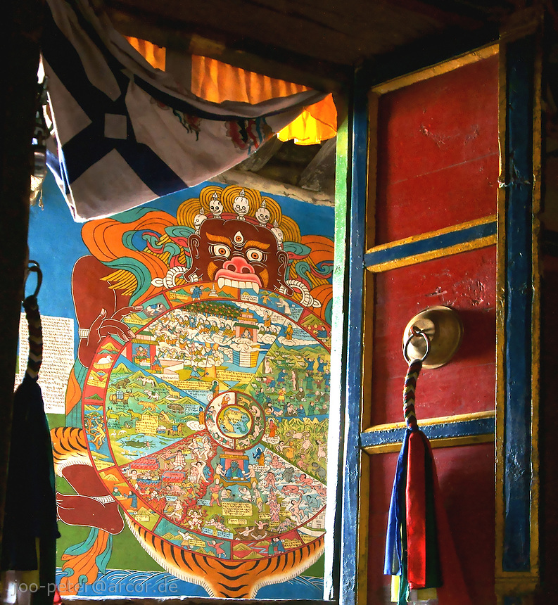 Door with view on wheel of life wall painting in buddist monastery in Kagbeni Village, Upper Mustang, Himalaya, Nepal, October 2011