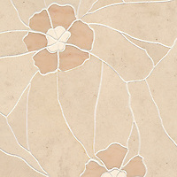 Raku Flower Small, a stone water jet mosaic, shown in Ivory Cream, Saint Richard, and Rosa Portagallo, is part of the Ann Sacks Beau Monde collection sold exclusively at www.annsacks.com