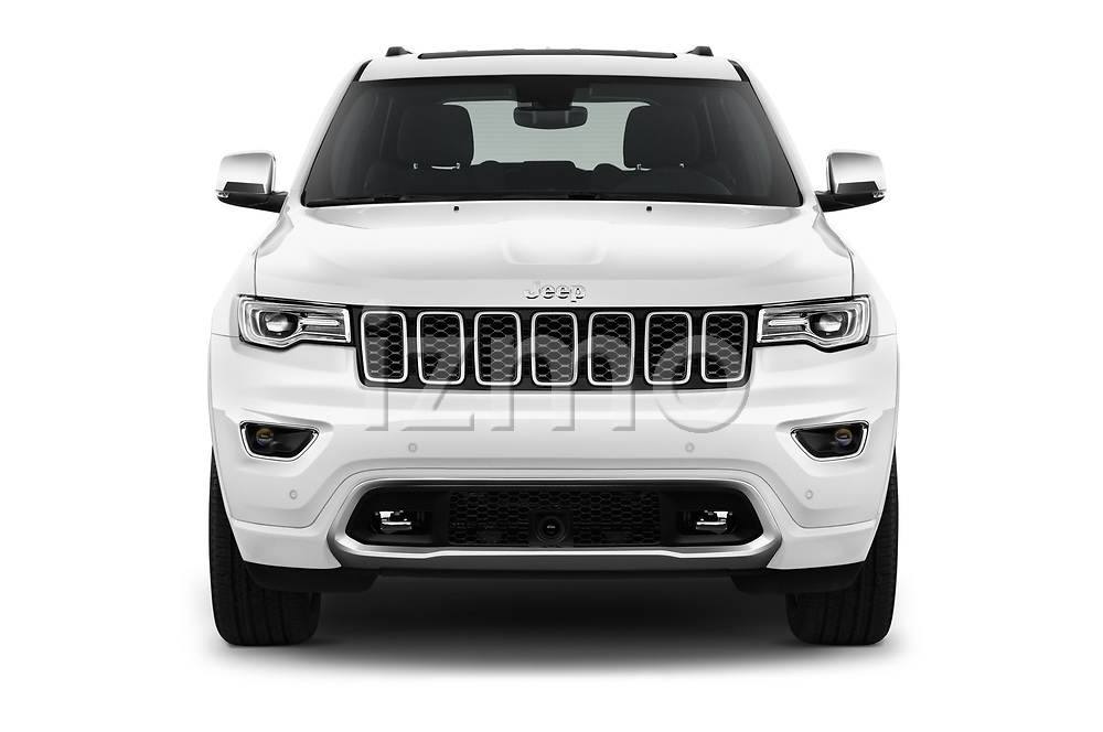 Car photography straight front view of a 2018 JEEP Grand-Cherokee Overland 5 Door SUV Front View