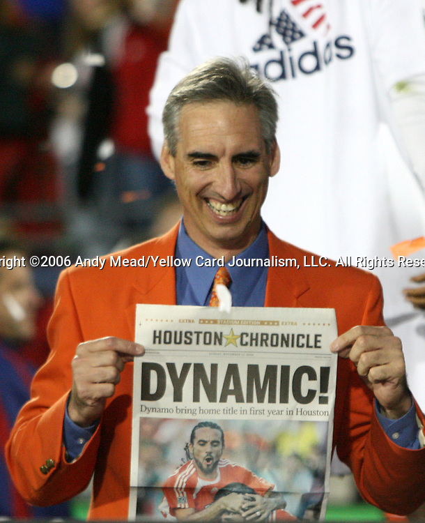 12 November 2006: Houston president and General Manager Oliver Luck holds up a one page special edition of the Houston Chronicle honoring the new champions. The Houston Dynamo defeated the New England Revolution 4-3 on penalty kicks after the game ended in a 1-1 tie to win MLS Cup 2006 at Pizza Hut Park in Frisco, Texas.