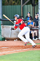 Elizabethton Twins catcher Rainis Silva (11) swings at a pitch during a game against the Pulaski Yankees at Joe O'Brien Field on June 27, 2016 in Elizabethton, Tennessee. The Yankees defeated the Twins 6-4. (Tony Farlow/Four Seam Images)