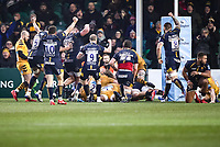25th January 2020; Sixways Stadium, Worcester, Worcestershire, England; Premiership Rugby, Worcester Warriors versus Wasps; Marco Mama of Worcester Warriors scores after the clock has run out in the first half for a 13-5 lead after the conversion