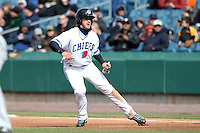 Syracuse Chiefs center fielder Bryce Harper #34 leads off first during the opening game of the International League season against the Rochester Red Wings at Alliance Bank Stadium on April 5, 2012 in Syracuse, New York.  (Mike Janes/Four Seam Images)
