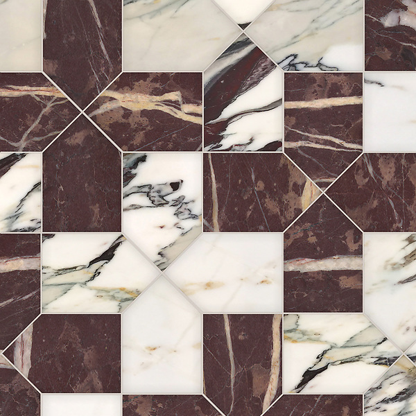 Maxfield, a hand-cut stone mosaic, shown in polished Plumeria and Chinese Purple, is part of the Semplice® collection for New Ravenna.
