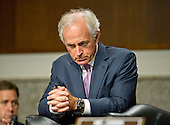 United States Senator Bob Corker (Republican of Tennessee), Chairman, US Senate Committee on Foreign Relations, listens to the testimony of US Secretary of State John F. Kerry who appears before the committee to examine and review Iran nuclear agreement on Capitol Hill in Washington, DC on Thursday, July 23, 2015.<br /> Credit: Ron Sachs / CNP
