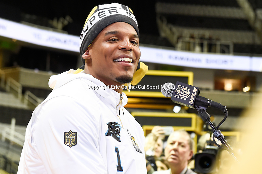 Monday, February 1, 2016: Carolina Panthers quarterback Cam Newton (1) talks to members of the media during the opening day of press conferences for the National Football League Super Bowl 50 between the Denver Broncos and the Carolina Panthers at the SAP Center, in San Jose, California. Eric Canha/CSM