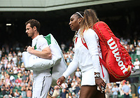 Andy Murray (GBR) & Serena Williams (USA) enter the court prior to their match against Andreas Mies (GER) & Alexa Guarachi (CHI) in their Mixed Doubles First Round Match<br /> <br /> Photographer Rob Newell/CameraSport<br /> <br /> Wimbledon Lawn Tennis Championships - Day 6 - Saturday 6th July 2019 -  All England Lawn Tennis and Croquet Club - Wimbledon - London - England<br /> <br /> World Copyright © 2019 CameraSport. All rights reserved. 43 Linden Ave. Countesthorpe. Leicester. England. LE8 5PG - Tel: +44 (0) 116 277 4147 - admin@camerasport.com - www.camerasport.com
