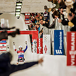5 December 2015: Emily Sweeney, competing for the United States of America, is elated as she crosses the finish line on her second run of the Viessmann World Cup Women's Luge, with a combined 2-run time of 1:28.136 and a 2nd place result at the Olympic Sports Track in Lake Placid, New York, USA. Mandatory Credit: Ed Wolfstein Photo *** RAW (NEF) Image File Available ***