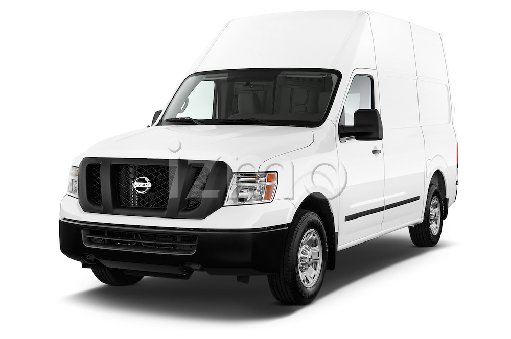 Front three quarter view of a 2013 Nissan NV 2500 High Roof V8 S Cargo Van