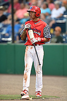 Clearwater Threshers shortstop J.P. Crawford (2) waits on deck during a game against the Brevard County Manatees on June 28, 2014 at Bright House Field in Clearwater, Florida.  Brevard County defeated Clearwater 6-4.  (Mike Janes/Four Seam Images)