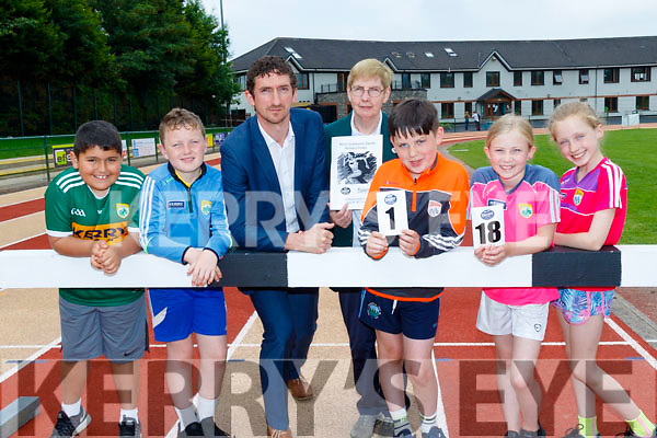 Pictured last Wednesday are L-R Danial Kenny, Mark Curtin, Padraig Mallon(Kerry Group) Margaret Culloty, Kerry Community games county secretary, Sean Daly, Holly Horan and Deirdre Moynihan  at the official Launch of the Denny Kerry Community Games Athletics Finals, which take place next June 23rd&24th at An Ríocht, Castleisland