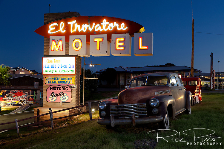 The El Trovatore Motel on Andy Devine Blvd, is one of the few pre-World War II Kingman Arizona motels that are still standing. The recently refurbished motel along Route 66 started in 1937 as a service station with a tourist court added in 1939. The Motel's Hollywood themed rooms feature Clark Gable, Marilyn Monroe, and James Dean who were all guests in the past.