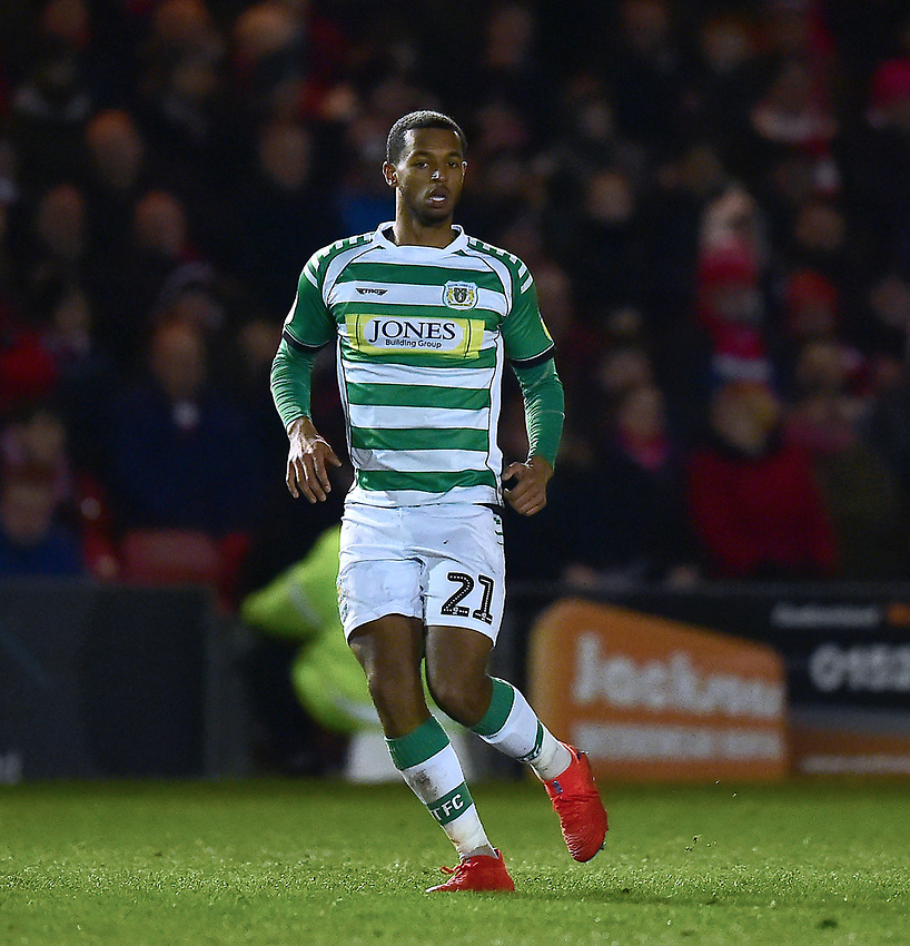 Yeovil Town's Josh Grant<br /> <br /> Photographer Andrew Vaughan/CameraSport<br /> <br /> The EFL Sky Bet League Two - Lincoln City v Yeovil Town - Friday 8th March 2019 - Sincil Bank - Lincoln<br /> <br /> World Copyright © 2019 CameraSport. All rights reserved. 43 Linden Ave. Countesthorpe. Leicester. England. LE8 5PG - Tel: +44 (0) 116 277 4147 - admin@camerasport.com - www.camerasport.com