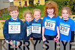 Preparing for the Currow National School's fun run on Friday last. .L-R Eamon O'Mahony, Ailbhe Fleming, Aoife Roche, Mary Lily Keane and Cara Fleming.