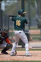 Oakland Athletics outfielder Greg Deichmann (16) at bat during an Extended Spring Training game against the San Francisco Giants Orange at the Lew Wolff Training Complex on May 29, 2018 in Mesa, Arizona. (Zachary Lucy/Four Seam Images)