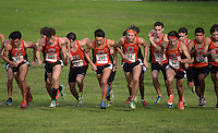 Oct 17, 2014; La Mirada, CA, USA; Occidental College runners at the start of  the SCIAC multi duals meet at La Mirada Park. From left: John Guzman (91), Colin Smith (101), Raoul Friedmann (88), Aaron Sugimoto (102), Harrison Luft (98), Samuel Burnett (86), Louis Jochems (94) and Jovani Barajas (83).Photo by Kirby Lee John Guzman Aguilar