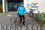 "Cycling her moms old bike which is 35 yrs old is Mary Jo Quigley from the Kerries, Tralee to the Kerry Cycling Campaign ""Why We Cycle"" at the Kerry County Library in Tralee on Thursday evening."