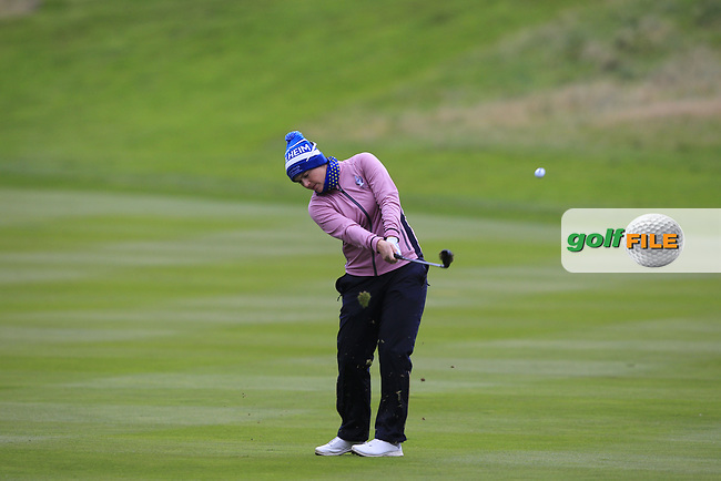 Caroline Masson of Team Europe on the 2nd fairway during Day 2 Fourball at the Solheim Cup 2019, Gleneagles Golf CLub, Auchterarder, Perthshire, Scotland. 14/09/2019.<br /> Picture Thos Caffrey / Golffile.ie<br /> <br /> All photo usage must carry mandatory copyright credit (© Golffile   Thos Caffrey)