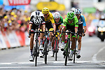 Rigoberto Uran (COL) Cannondale Drapac and Warren Barguil (FRA) Team Sunweb cross the finish line together at the end of Stage 9 of the 104th edition of the Tour de France 2017, running 181.5km from Nantua to Chambery, France. 9th July 2017.<br /> Picture: ASO/Alex Broadway | Cyclefile<br /> <br /> <br /> All photos usage must carry mandatory copyright credit (&copy; Cyclefile | ASO/Alex Broadway)