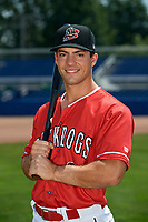Batavia Muckdogs Denis Karas (9) poses for a photo on July 2, 2018 at Dwyer Stadium in Batavia, New York.  (Mike Janes/Four Seam Images)