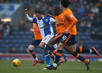 Blackburn Rovers' Bradley Dack battles with Oldham Athletic's Ousmane Fane<br /> <br /> Photographer Stephen White/CameraSport<br /> <br /> The EFL Sky Bet League One - Blackburn Rovers v Oldham Athletic - Saturday 10th February 2018 - Ewood Park - Blackburn<br /> <br /> World Copyright &copy; 2018 CameraSport. All rights reserved. 43 Linden Ave. Countesthorpe. Leicester. England. LE8 5PG - Tel: +44 (0) 116 277 4147 - admin@camerasport.com - www.camerasport.com