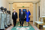 Palestinian President Mahmoud Abbas is welcomed by President of Ireland Michael D. Higgins and his wife Sabina Higgins at the Presidential Palace in Dublin, Ireland on September 22, 2018. Photo by Thaer Ganaim