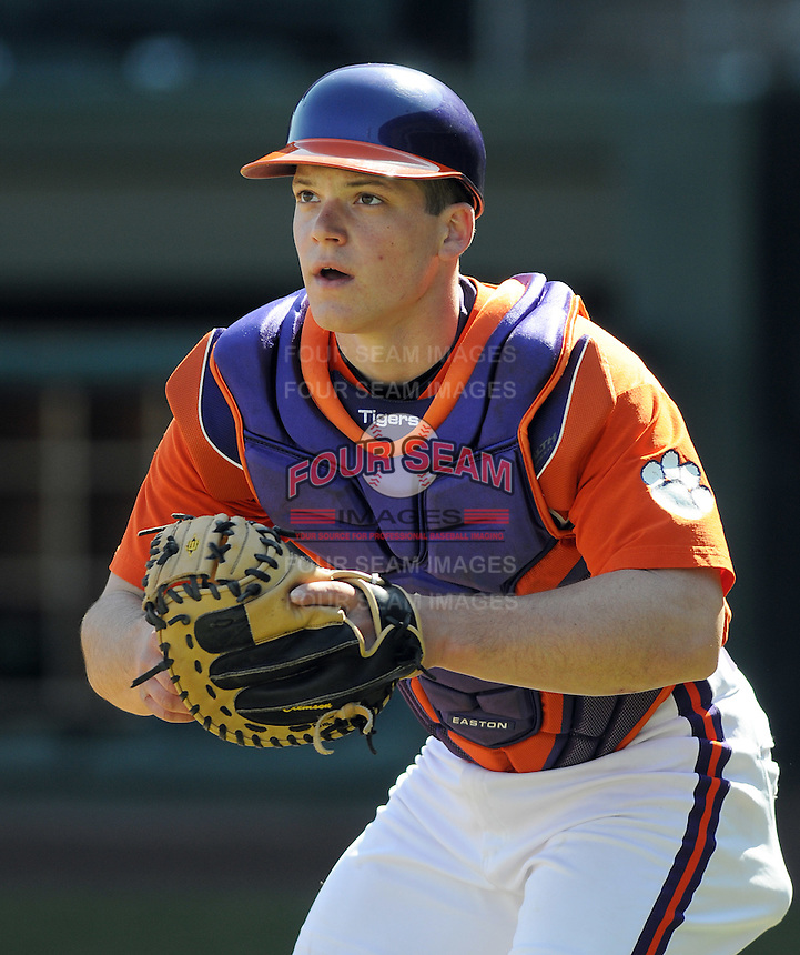 Catcher Phil Pohl (9) of the Clemson Tigers in a game against the Michigan State Spartans Saturday, Feb. 20, 2010, at Fluor Field at the West End in Greenville, S.C. Photo by: Tom Priddy/Four Seam Images