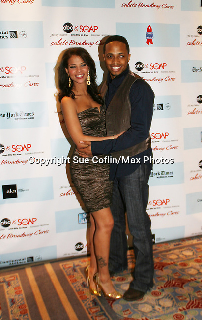 Denise Vasi & Cornelius Smith Jr. - All My Children at the after party of ABC and SOAPnet's Salutes to Broadway Cares/Equity Fights Aids on March 9, 2009 at the New York Marriott Marquis, New York, NY.  (Photo by Sue Coflin/Max Photos)
