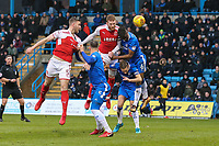 Cian Bolger of Fleetwood Town wins the aerial battle during the Sky Bet League 1 match between Gillingham and Fleetwood Town at the MEMS Priestfield Stadium, Gillingham, England on 27 January 2018. Photo by David Horn.