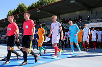 Joe Worrall leads out the England team during England Under-18 vs Ivory Coast Under-20, Toulon Tournament Final Football at Stade de Lattre-de-Tassigny on 10th June 2017
