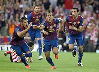 MADRID, ESPANHA, 25 DE MAIO 2012 - FINAL COPA DO REY - BARCELONA X ATHLETIC CLUB -  Pedro ( C)   comemora gol contra o Athletic Club Bilbao na final da Copa do Rey no Estadio San Mames em Madrid capital da Espanha, ontem dia 25. (FOTO: ALVARO HERNANDEZ / ALFAQUI / BRAZIL PHOTO PRESS).