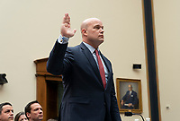 Acting Attorney General Matthew G. Whitaker is sworn-in to testify before the United States House Judiciary Committee on Capitol Hill in Washington, DC, February 8, 2019. Credit: Chris Kleponis / CNP/AdMedia