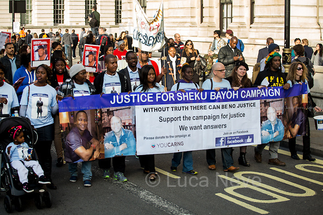 London, 31/10/2015. Today, the annual march of the &quot;United Families and Friends Campaign&quot; (UFFC) took place from Trafalgar Square to Downing Street. The aim of the rally is to remember those who have died in the custody of police and prison officers as well as those who are killed in immigration detention and secure psychiatric hospitals, and to demand justice for the families who believe that investigations into the deaths have not revealed the truth. The UFFC includes the families of Roger Sylvester, Leon Patterson, Rocky Bennett, Alton Manning, Christopher Alder, Brian Douglas, Joy Gardner, Aseta Simms, Ricky Bishop, Paul Jemmott, Harry Stanley, Glenn Howard, Mikey Powell, Jason McPherson, Lloyd Butler, Azelle Rodney, Sean Rigg, Habib Ullah, Olaseni Lewis, David Emmanuel (aka Smiley Culture), Kingsley Burrell, Demetre Fraser, Mark Duggan, Rebecca Louise Overy, Sheku Bayoh, Anthony Grainger, the 96 People who died at the Hillsborough Stadium, to name but a few. Together they have built a network for collective action to end deaths in custody.<br />