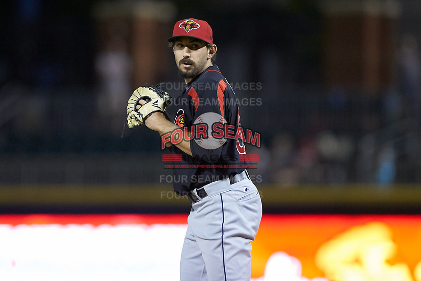 Rochester Red Wings relief pitcher Zack Weiss (50) looks to his catcher for the sign against the Charlotte Knights at BB&T BallPark on May 14, 2019 in Charlotte, North Carolina. The Knights defeated the Red Wings 13-7. (Brian Westerholt/Four Seam Images)