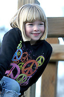 Portrait of a young girl on a school playground
