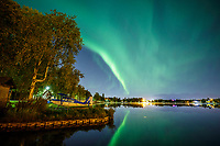 Fall landscape of Aurora Borealis (Northern Lights) over Lake Hood and floatplanes in Anchorage, Alaska. Southcentral, Alaska<br /> <br /> Photo by Jeff Schultz/SchultzPhoto.com  (C) 2018  ALL RIGHTS RESERVED