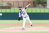 Glendale Desert Dogs starting pitcher Ben Holmes (29), of the Los Angeles Dodgers organization, delivers a pitch during an Arizona Fall League game against the Scottsdale Scorpions at Camelback Ranch on October 16, 2018 in Glendale, Arizona. Scottsdale defeated Glendale 6-1. (Zachary Lucy/Four Seam Images)
