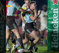Harlequins' James Lang celebrates scoring his side's second try<br /> <br /> Photographer Bob Bradford/CameraSport<br /> <br /> European Rugby Challenge Cup - Harlequins v Wasps - Sunday 13th January 2018 - Twickenham Stoop - London<br /> <br /> World Copyright &copy; 2018 CameraSport. All rights reserved. 43 Linden Ave. Countesthorpe. Leicester. England. LE8 5PG - Tel: +44 (0) 116 277 4147 - admin@camerasport.com - www.camerasport.com