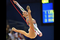 September 11, 2009; Mie, Japan;  Anna Bessonova of Ukraine split leaps with rope to win bronze in the All Around final on this day at 2009 World Championships Mie. Anna was the 2007 AA world champion at Patras, Greece in the individual All Around. (Photo note: Image #1 from this series of split leaps) Photo by Tom Theobald. .
