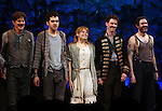 Rick Holmes, Adam Chandler-Berat, Celia Keenan-Bolger, Christian Borle, Kevin Del Aguila.during the Broadway Opening Night Performance Curtain Call for 'Peter And The Starcatcher' at the Brooks Atkinson Theatre on 4/15/2012 in New York City.
