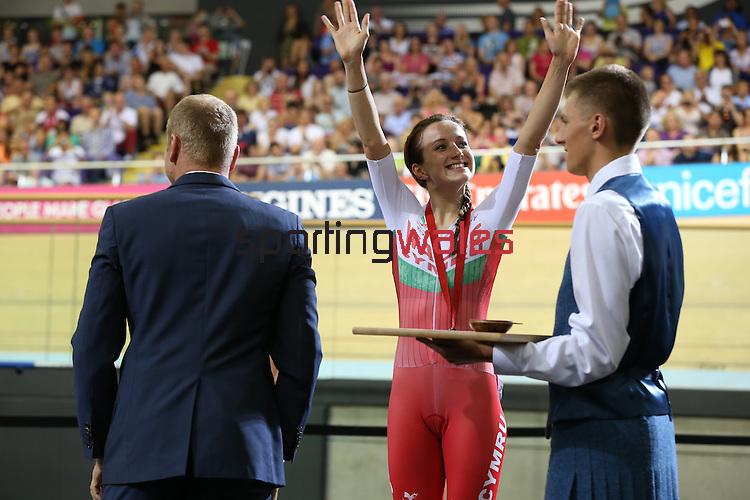 Glasgow 2014 Commonwealth Games<br /> Elinor Barker (Wales) celebrates her bronze medal.<br /> Womens 10km Scratch Race<br /> Sir Chris Hoy Velodrome<br /> 26.07.14<br /> ©Steve Pope-SPORTINGWALES
