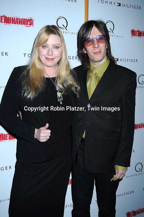 """Bebe Buell and husband Jim Wallerstein attending The New York Premiere of """"The Runaways"""" on March 17, 2010 at The Landmark Sunshine Cinema in New York City."""