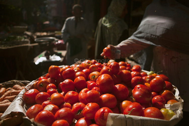 Egypt / Cairo / 21.5.2013 / Tomatoes in a street market in Cairo. Tomatoes are often used to garnish 'ful'.