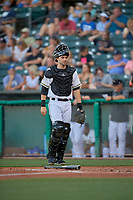Anthony Bemboom (2) of the Salt Lake Bees during the game against the Sacramento River Cats at Smith's Ballpark on July 18, 2019 in Salt Lake City, Utah. The Bees defeated the River Cats 9-6. (Stephen Smith/Four Seam Images)