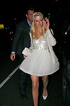 3-4-09 .Paris Hilton leaving the new Hollywood club called My House with boyfriend  Doug Reinhardt  wearing a white puffy dress and a head band crown ...AbilityFilms@yahoo.com.805-427-3519.www.AbilityFilms.com