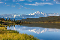 Morning sunshine on Wonder Lake, North Face of Denali,  North America's largest mountain, Denali National Park, Interior, Alaska.