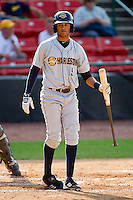Mason Williams #9of the Charleston RiverDogs at bat against the Hickory Crawdads at L.P. Frans Stadium on April 29, 2012 in Hickory, North Carolina.  The Crawdads defeated the RiverDogs 12-3.  (Brian Westerholt/Four Seam Images)