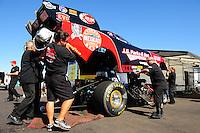 Oct. 16, 2011; Chandler, AZ, USA; NHRA crew members for funny car driver Jeff Diehl during the Arizona Nationals at Firebird International Raceway. Mandatory Credit: Mark J. Rebilas-