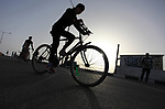 Palestinian cyclist girls ride bicycles during a sport cycling training, organized by the Palestinian Triathlon Federation in Gaza city, on May 26, 2019. Photo by Mahmoud Ajjour