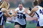 Jill Rall (29) of the High Point Panthers high fives teammates during player introductions prior to the match against the Furman Purple Paladins at Vert Track, Soccer & Lacrosse Stadium on February 10, 2018 in High Point, North Carolina.  The Panthers defeated the Purple Paladins 17-6.  (Brian Westerholt/Sports On Film)